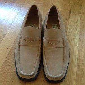 Salvatore Ferragamo Beige Suede Loafers 13 D